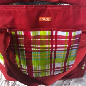Sachi red plaid insulated cooler tote bag